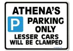 ATHENA'S Personalised Parking Sign Gift | Unique Car Present for Her |  Size Large - Metal faced